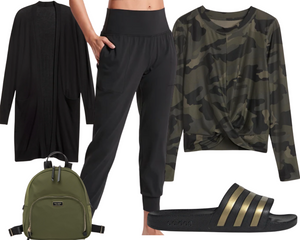 Pear Joggers and Camo Top