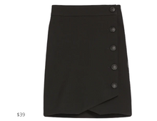 Load image into Gallery viewer, https://www.express.com/clothing/women/high-waisted-soft-%26-sleek-button-side-pencil-skirt/pro/07739530/color/Pitch%20Black/