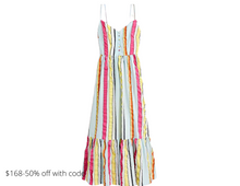 Load image into Gallery viewer, https://www.jcrew.com/p/womens_feature/newarrivals/justin/tiered-midi-dress-in-seersucker-ribbons/AO466?color_name=yellow-blue-multi