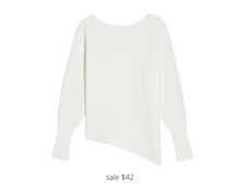 Load image into Gallery viewer, https://www.express.com/clothing/women/ribbed-asymmetrical-tunic-sweater/pro/08372497/color/Ivory/