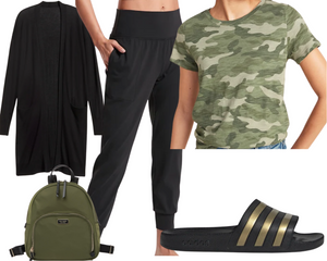 Inverted Triangle Joggers and Camo Top