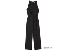 Load image into Gallery viewer, https://www.express.com/clothing/women/high-neck-tie-front-culotte-jumpsuit/pro/07824128/color/Pitch%20Black/e/regular/
