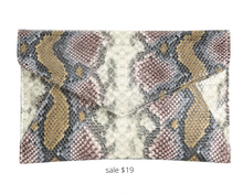 Load image into Gallery viewer, https://www.dsw.com/en/us/product/urban-expressions-snake-clutch/465688?activeColor=962&rrec=true