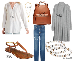 Inverted Triangle Skinny Jeans and White Tunic