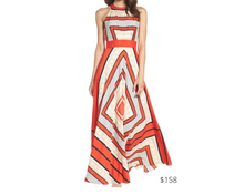 Load image into Gallery viewer, https://www.nordstrom.com/s/eliza-j-scarf-print-crepe-de-chine-fit-flare-maxi-dress-regular-petite/5082716?origin=category-personalizedsort&breadcrumb=Home%2FWomen%2FClothing%2FDresses&color=multi