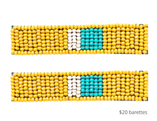 Load image into Gallery viewer, https://inkalloy.com/collections/hair-accessories/products/yellow-turquoise-ivory-beaded-hair-clip-2-25-2-pack