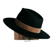Load image into Gallery viewer, https://www.gigipip.com/products/miller-black-with-brown-band-pinched-crown-fedora-with-flat-brim?variant=31100369731715&currency=USD&utm_medium=product_sync&utm_source=google&utm_content=sag_organic&utm_campaign=sag_organic&utm_campaign=gs-2019-11-15&utm_source=google&utm_medium=smart_campaign&gclid=CjwKCAjwq_D7BRADEiwAVMDdHtf0LhhFArYlkWN5aagdyrD44JLze5CAMTw-XZSbfjahav4ChF7SRhoCpRAQAvD_BwE