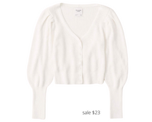Load image into Gallery viewer, https://www.abercrombie.com/shop/us/p/puff-sleeve-cropped-cardigan-41031821?seq=02&source=googleshopping&source=googleshopping&country=US&cmp=PLA_G_SC+Shopping+-+ANF+-+Desktop_All+Products_PRODUCT_GROUP&gclid=EAIaIQobChMIwqHk5Ybb6wIVTfDACh1XKgxEEAQYAiABEgLvyPD_BwE&gclsrc=aw.ds