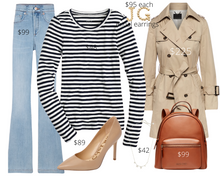 Load image into Gallery viewer, Pear Shape Breton Shirt and Wide Leg Jeans