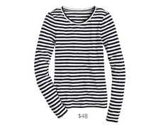 Load image into Gallery viewer, https://www.jcrew.com/p/womens_category/shirts_tops/slim-perfect-longsleeve-tshirt-in-stripes/J1638?color_name=navy-ivory