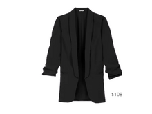 Load image into Gallery viewer, https://www.express.com/clothing/women/ruched-sleeve-boyfriend-blazer/pro/06775185/color/Pitch%20Black/e/regular/