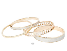 Load image into Gallery viewer, https://www.express.com/clothing/women/set-of-four-bangle-bracelets/pro/00507199/color/Ivory/