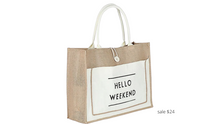 Load image into Gallery viewer, https://bootsnbagsheaven.com/products/classic-hello-weekend-tote-beach-bag?variant=29447329349674&utm_medium=cpc&utm_source=google&utm_campaign=Google+Shopping