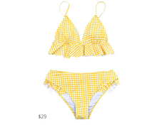 Load image into Gallery viewer, https://www.cupshe.com/collections/bikinis/products/yellow-gingham-ruffled-bikini