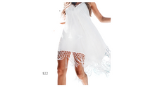 Load image into Gallery viewer, https://www.cupshe.com/collections/cover-up-1/products/white-backless-cover-up-with-tassels?variant=17435649572954&gclid=EAIaIQobChMItKnJi6mw6wIVRfLjBx3AHQkPEAQYDSABEgIjC_D_BwE