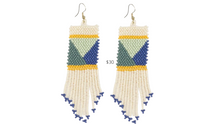 Load image into Gallery viewer, https://inkalloy.com/collections/beaded-earrings/products/seed-bead-earring-with-geometric-ivory-blue-green