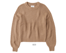 Load image into Gallery viewer, https://www.abercrombie.com/shop/us/p/waffle-puff-sleeve-crew-sweater-41375819?seq=04&source=googleshopping&source=googleshopping&country=US&cmp=PLA_G_SC+Shopping+-+ANF+-+Desktop_All+Products_PRODUCT_GROUP&gclid=EAIaIQobChMI8cbcmpDv6wIVZf7jBx3IyQAYEAQYBCABEgIhovD_BwE&gclsrc=aw.ds