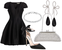 Load image into Gallery viewer, Apple Fit and Flare Black Dress
