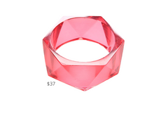 Load image into Gallery viewer, https://inkalloy.com/collections/lucite-resin-bracelets/products/hot-pink-lucite-faceted-bangle