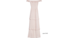 Load image into Gallery viewer, https://www.express.com/clothing/women/off-the-shoulder-ruffle-maxi-dress/pro/07854712/color/Truffle%20Pink/e/regular/#reviews