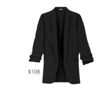 Load image into Gallery viewer, https://www.express.com/clothing/women/ruched-sleeve-boyfriend-blazer/pro/06775185/color/Pitch%20Black/e/regular/?rx_channel=search&channel=search&merchantId=41548191&programId=104383258&affiliateId=101184100&&mrkgcl=638&mrkgadid=3334454924&CID=SEM_Goo-PLA-F-Main-Retail-78-674-Blazers-US-Product-NA&SearchID=Goo-PLA-F-Main-Retail-78-674-Blazers-US-Product-NA&product_id=13762124&adpos=&creative=339082445697&device=c&matchtype=&network=g&gclid=EAIaIQobChMIw5W59par6gIVENbACh2D9QUgEAQYASABEgKC_vD_BwE&gclsrc=aw.d