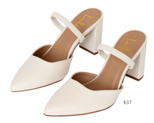 Load image into Gallery viewer, https://www.lulus.com/products/maryna-off-white-pointed-toe-mules/841742.html?utm_source=google&utm_medium=cpc&utm_content=841742&utm_campaign=PLA_clogs-mule-pumps&pla=1&s_kwcid=AL%217824%213%21337857861778%21%21%21g%21844586712715%21&gclid=EAIaIQobChMIgruRnub26wIVBqSzCh3ULAsbEAQYHSABEgIQvPD_BwE