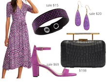Load image into Gallery viewer, Apple Shape Purple Animal Print Dress