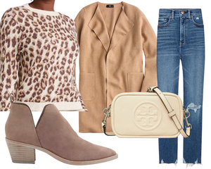 Pear Leopard Sweater & Jeans