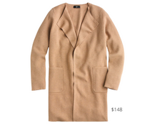 Load image into Gallery viewer, https://www.jcrew.com/p/womens_category/blazers/sweater_blazers/juliette-collarless-sweaterblazer/J6339?color_name=hthr-khaki