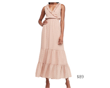 Load image into Gallery viewer, https://www.express.com/clothing/women/metallic-clip-dot-ruffle-maxi-dress/pro/07855662/color/Pink/e/regular/