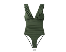Load image into Gallery viewer, https://www.cupshe.com/collections/one-piece/products/moss-green-ruffled-one-piece-swimsuit?variant=16633037455450
