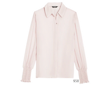 Load image into Gallery viewer, https://www.express.com/clothing/women/smocked-cuff-shirt/pro/09705370/color/Truffle%20Pink/