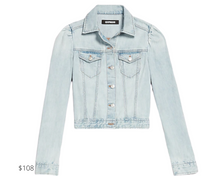 Load image into Gallery viewer, https://www.express.com/clothing/women/puff-sleeve-light-wash-denim-jacket/pro/06956163/color/Light%20Wash/