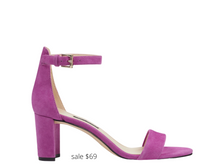 Load image into Gallery viewer, https://ninewest.com/products/pruce-ankle-strap-block-heel-sandals-in-dark-pink-suede