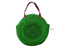 Load image into Gallery viewer, https://www.sandiegohat.com/products/womens-round-green-straw-tote-sb1747?gclid=EAIaIQobChMI94OjpPLD6gIVA9vACh1RnAvHEAQYBSABEgLlg_D_BwE