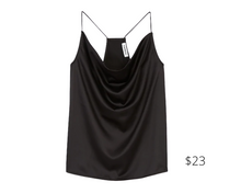 Load image into Gallery viewer, https://www.express.com/clothing/women/satin-cowl-neck-cami/pro/08635513/color/Pitch%20Black/