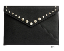 Load image into Gallery viewer, https://www.rebeccaminkoff.com/products/leo-clutch-w-pearl-studs-hs20erdc17-black?variant=31269134073950