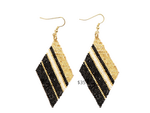 Load image into Gallery viewer, https://inkalloy.com/collections/beaded-earrings/products/gold-black-ivory-diamond-luxe-stripe-earring