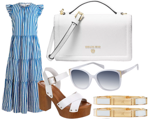 Hourglass Blue and White Stripe Dress