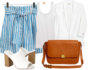 Rectangle Blue and White Stripe Shorts