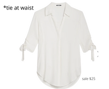 Load image into Gallery viewer, https://www.express.com/clothing/women/tie-sleeve-button-up-shirt/pro/09705221/color/Ivory/