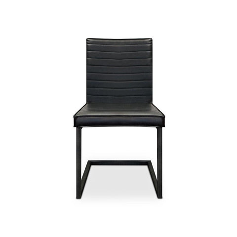 modern ribbed side chair in black