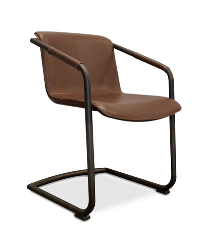 modern brown faux leather dining chair with arms