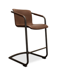 modern faux leather counter stool with arms