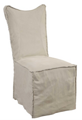 taupe brown leather slipcover dining chair