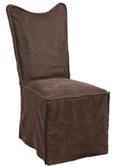 brown leather slipcover dining chair