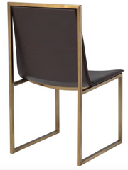 Gold and brown modern dining chair (backside)