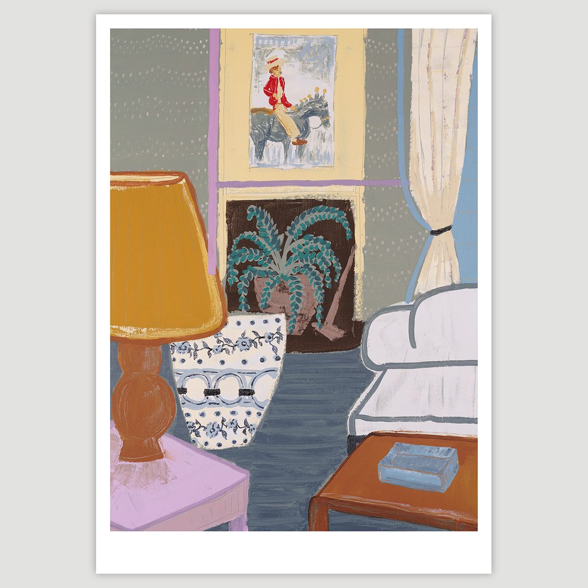 Living Room with Portrait Painting (A2 art print, hand-signed)