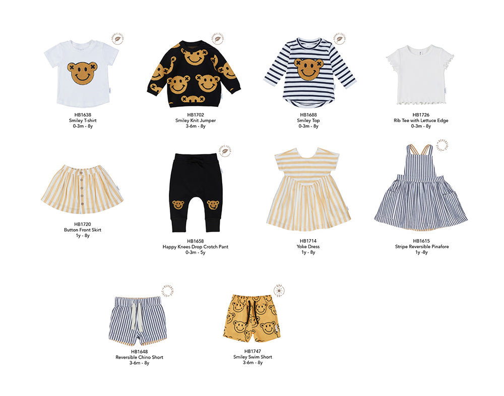 Styles from the new Huxbaby Be Happy Collection for babies and children.