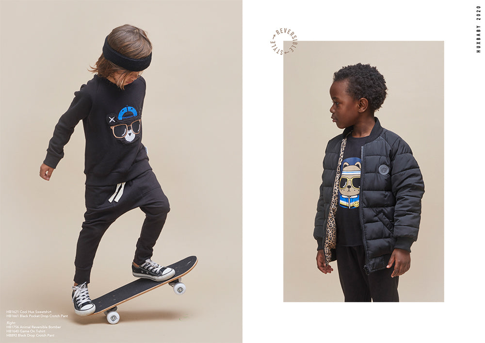 Boys wearing cool skate styles from the new season Huxbaby Be Happy Collection.